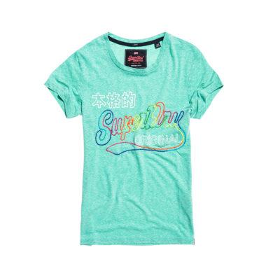 Ženska majica Superdry (tirkizno zelena siva boja)