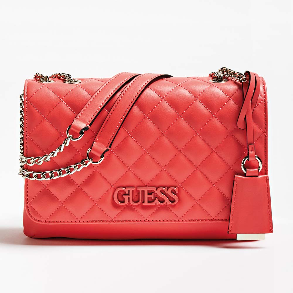 Ženska torba Guess (Koraljna/crna boja)